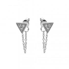 Karma oorbellen chain triple triangle zirconia zilver