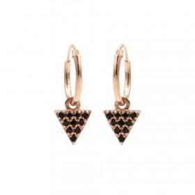 Karma oorbellen hoops symbols triangle 2 black zirconia rose