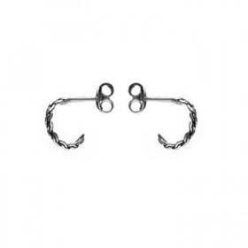 Karma oorbellen knopje symbols braided half hoop zilver (per paar)