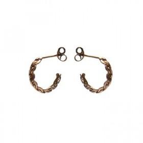 Karma oorbellen knopje symbols XL braided half hoop rosé (per paar)