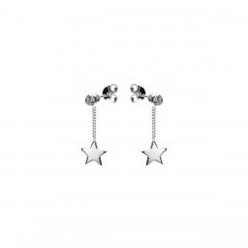 Karma oorbellen symbols chain zirconia star zilver (per paar)
