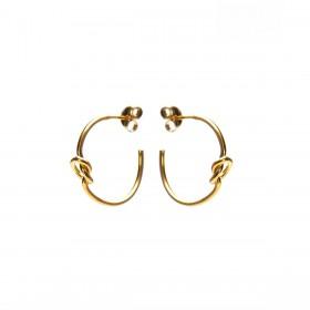Karma oorbellen symbols XL half hoop knot goud (per paar)
