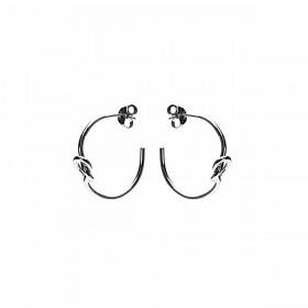 Karma oorbellen symbols XL half hoop knot zilver (per paar)