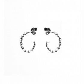 Karma oorbellen twisted loose hoops 925 sterling silver 15mm (per paar)