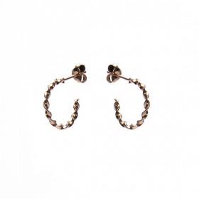 Karma oorbellen twisted loose hoops roseplated 925 sterling silver 15mm (per paar)