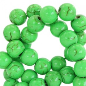 Keramiek turquoise kraal rond 4mm bright green