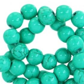 Keramiek turquoise kraal rond 6mm emerald green