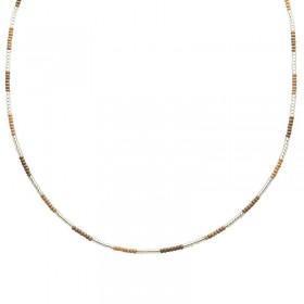 Ketting kralen Biba kleurenmix beige zilverkleurig