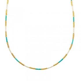 Ketting kralen Biba kleurenmix blauw 2 goudkleurig