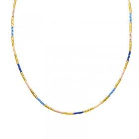 Ketting kralen Biba kleurenmix blauw goudkleurig