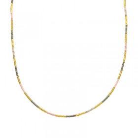 Ketting kralen Biba kleurenmix grijs goudkleurig
