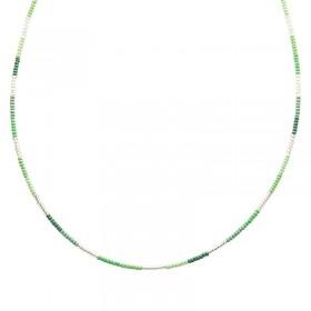 Ketting kralen Biba kleurenmix groen zilverkleurig