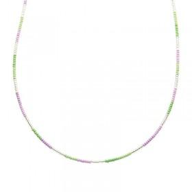 Ketting kralen Biba kleurenmix paars zilverkleurig