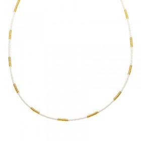Ketting kralen Biba kleurenmix wit goudkleurig