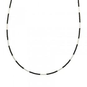 Ketting kralen Biba kleurenmix zwart zilverkleurig