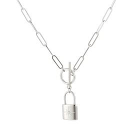 Ketting met kapittelslot en morning star slot charm zilver stainless steel 45cm