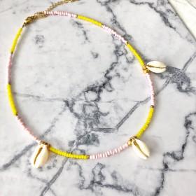 diy-pakket-ketting-roze-geel-met-3-schelpjes4