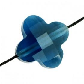 Klaver facet glaskraal indicolite blue 10mm