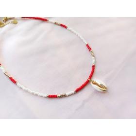 diy-pakket-kralenketting-rood-wit-goud-schelp