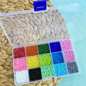 Kralenbox rainbow 3mm rocailles 15 x 12 gram