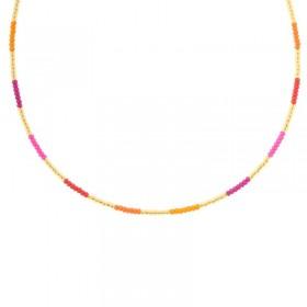 Kralenketting Biba kleurenmix oranje goudkleurig 45cm