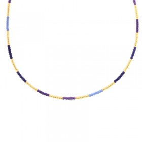 Kralenketting Biba kleurenmix paars goudkleurig 45cm