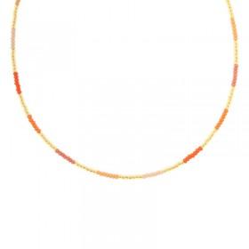 Kralenketting Biba kleurenmix rood oranje goudkleurig 45cm