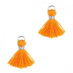Kwastje mini (stof) met oog Ibiza style 1cm zilver russet orange