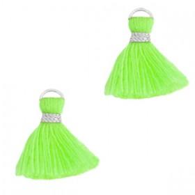 Kwastje (stof) met oog ibiza style 1.5cm neon green zilver