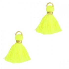 Kwastje (stof) met oog ibiza style 1.5cm neon yellow goud