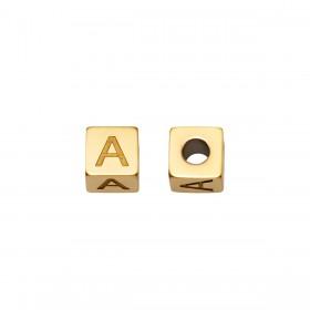 Letterkralen vierkant 5mm Ø2.5mm goud stainless steel( A-Z)