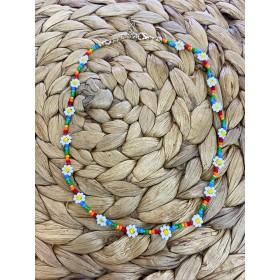 Loffs kralenketting bloemetjes rainbow mix 40cm