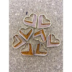 Metalen bedel hart oranje epoxy goud 30mm