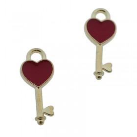 Metalen bedel sleutel met hartje goud rood 16x7mm