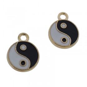 Metalen bedel Yin Yang goud 16mm