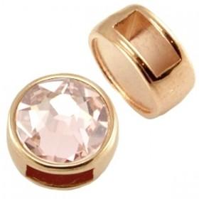 Metalen schuiver / slider rond rosé goud voor Polaris cabochon 7mm of Swarovski SS34
