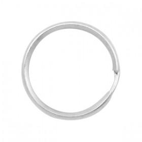 Metalen sleutelhanger ring plat 28x2mm zilver