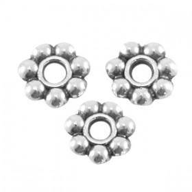 Metalen spacer bali ring 6mm licht zilver