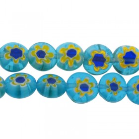 Millefiori glaskraal blauw geel 8mm