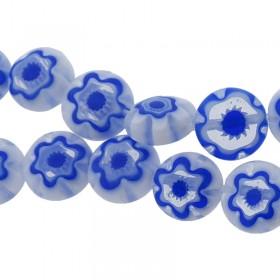 Millefiori glaskraal blauw wit 8mm