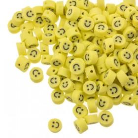 MINI smiley kraal polymeer geel 5mm (per stuk)