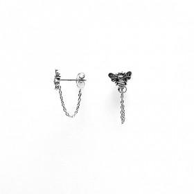 Karma minimalistische oorbellen chain bee 925 sterling zilver (per paar)