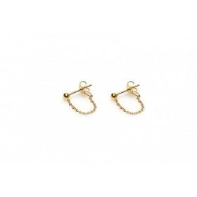 Karma minimalistische oorbellen chain ball 925 sterling zilver (goldplated) (per paar)