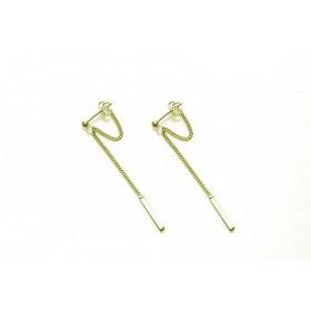Karma minimalistische oorbellen chain hanging bar XL 925 sterling zilver (goldplated) (per paar)