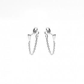 Karma minimalistische oorbellen chain mini cone 925 sterling zilver (per paar)