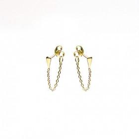 Karma minimalistische oorbellen chain mini cone goldplated (per paar)