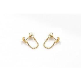 Karma minimalistische oorbellen chain moon 925 sterling zilver (goldplated) (per paar)