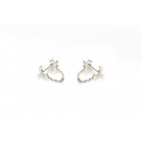 Karma minimalistische oorbellen chain moon 925 sterling zilver (per paar)