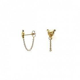 Karma minimalistische oorbellen chain panther head 925 sterling zilver (goldplated) (per paar)