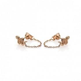 Karma minimalistische oorbellen chain snake 925 sterling zilver (roseplated) (per paar)